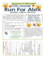 PLEASE REGISTER FOR RUN FOR ALEX BY MAY 5th!