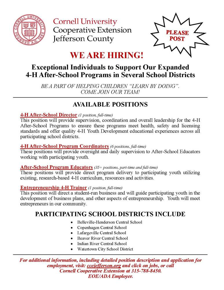 Cornell Cooperative Extension Hiring for after school program!
