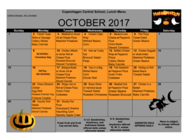 October Breakfast & Lunch Calendars