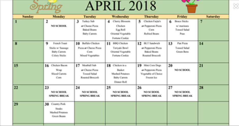 April Menus Available